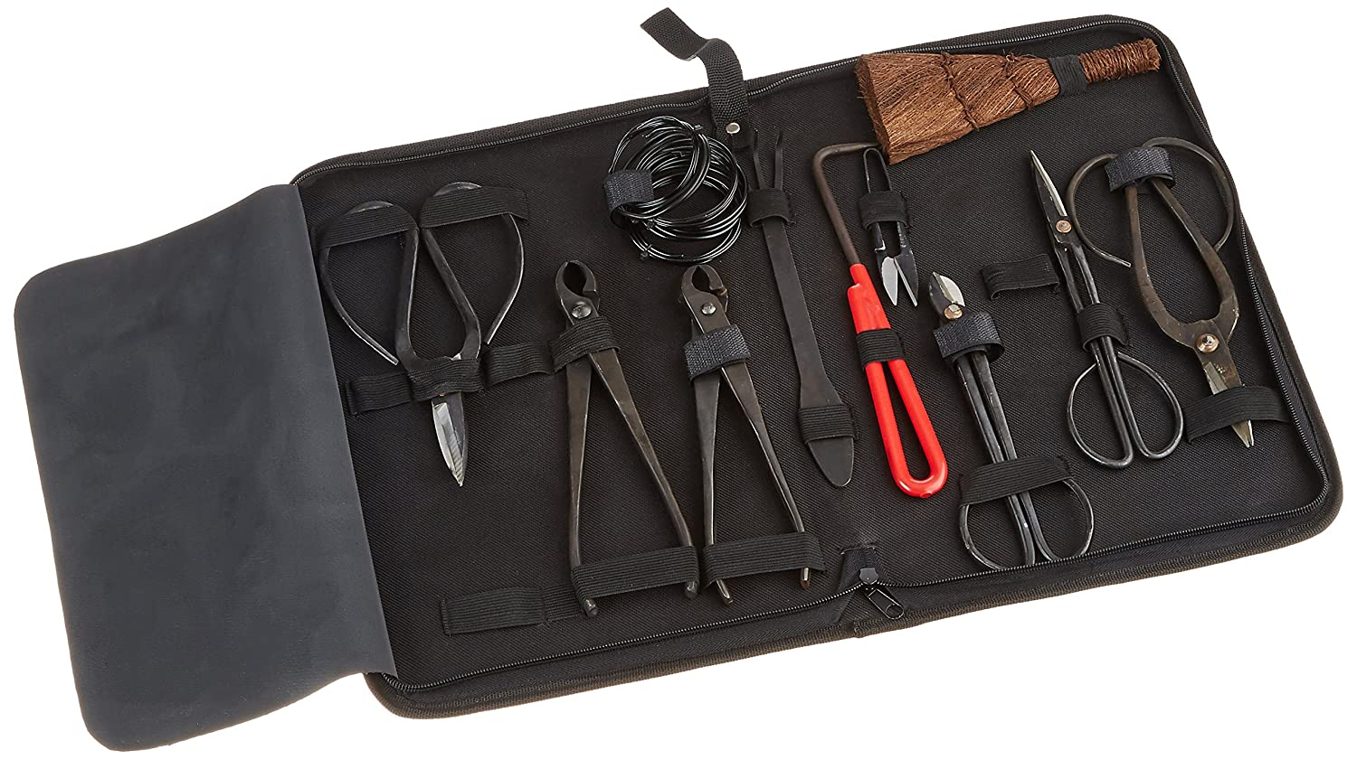 IMAGE Bonsai Tools Extensive 10-Pc Carbon Steel Master Shear Set Kit with Tool Roll Wires in Heavy Duty Nylon Case