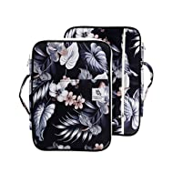 "Lazyaunti Zipper Portfolio Organizer A4 Note Pouch-Waterproof Document Bags/Zipper Binder/Paper Case for 12.5"" Mac,Tablet,Pens,washi Tape,Journals,Sketch Books(Hibiscus White)"