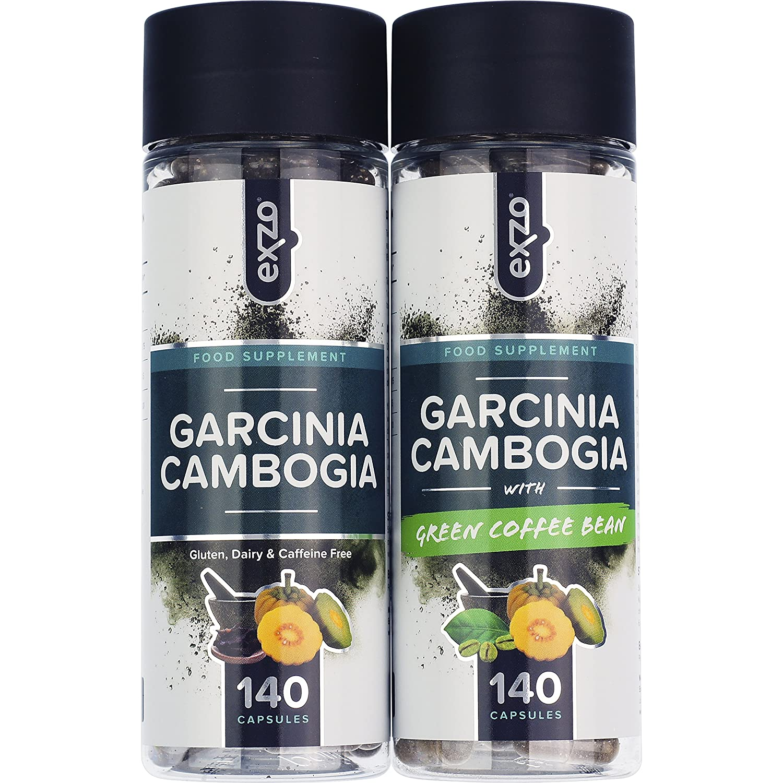 Garcinia cambogia Exzo con fruta en polvo 100% pura y natural, 140 cápsulas extrafuertes aptas para vegetarianos, sin gluten, lácteos, trigo ni cafeína y ...