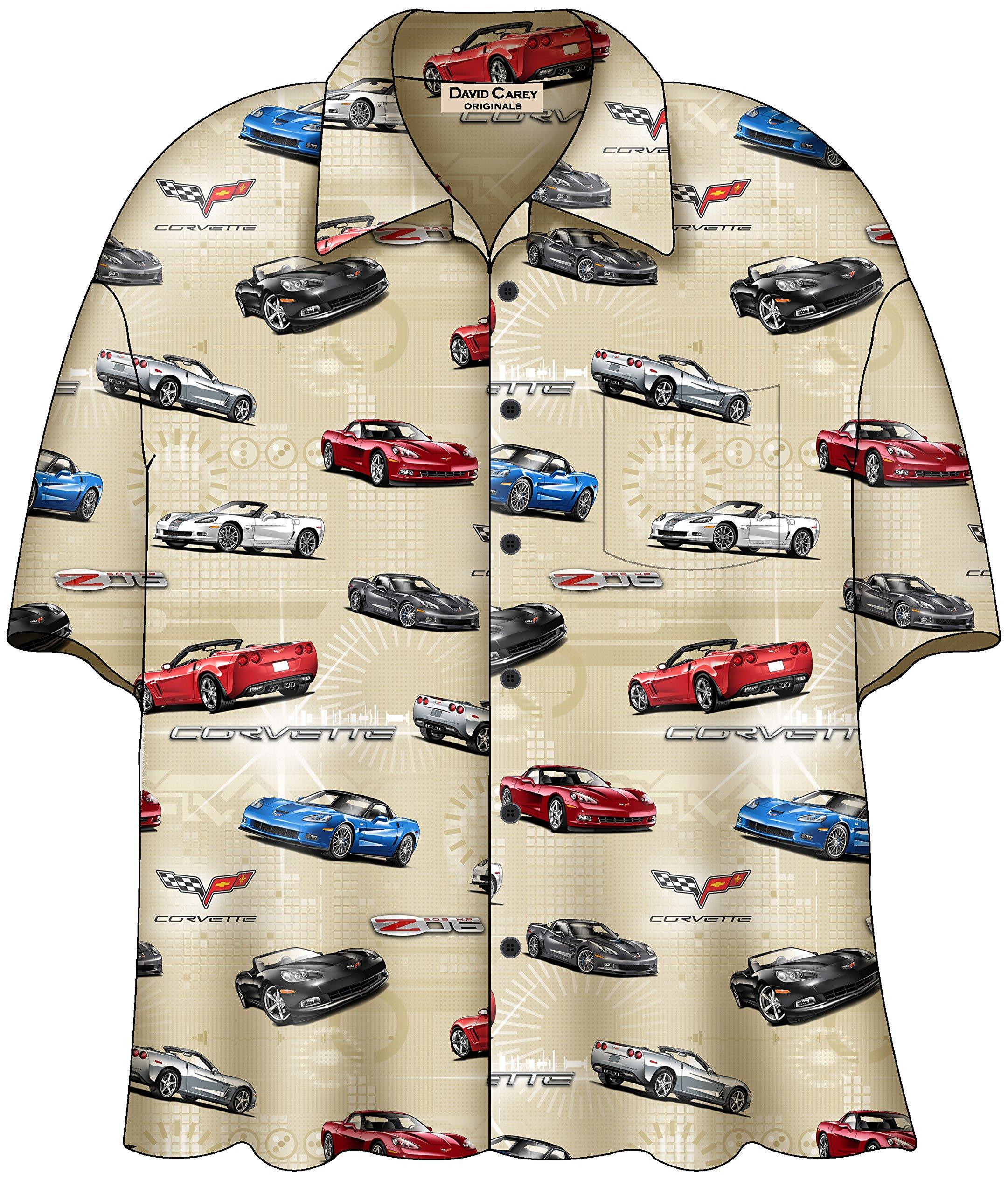 David Carey C6 Corvette Camp Shirt Creme (Medium)