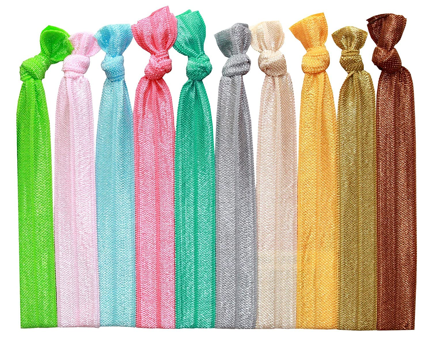 6f706848f0e3 Amazon.com : Syleia 100 Hair Ties - Bright and Pastel Colors - Elastic  Ponytail Holders No Crease Hand Knotted Fold Over Assorted 100 Pack : Beauty