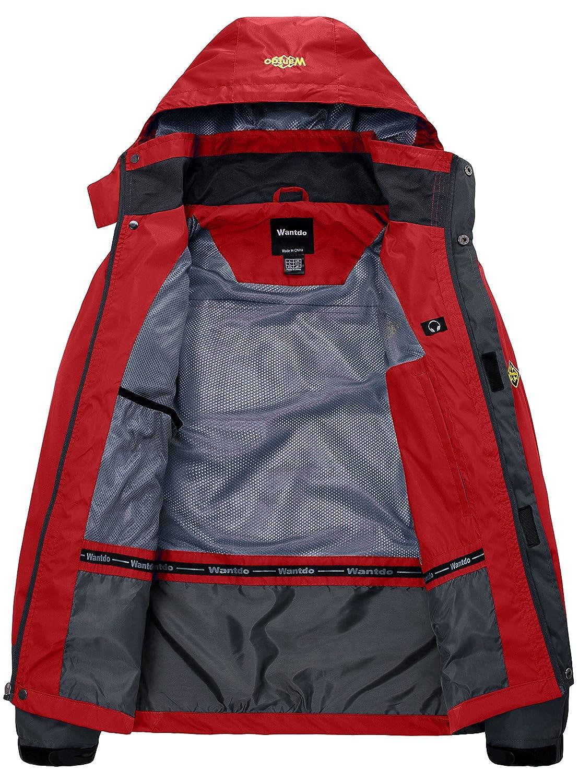 Wantdo Mens Waterproof Rain Jacket Breathable Hiking Coat Mountain Rain Wear Hooded Windbreaker Insulated Sportswear
