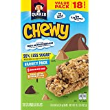 Quaker Chewy Granola Bars, 25% Less Sugar Variety Pack, 18 Bars, Net Wt. 15.2 oz