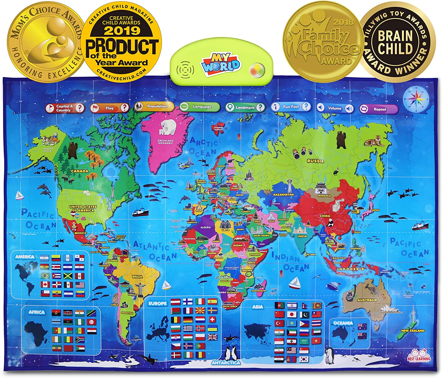 World Map with Flags Prints Poster Home Decoration Kids Education P28