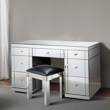 . WestWood Mirrored Furniture Glass 7 Drawer Dressing Table Console Desk  Bedroom Living Room MDT02 Silver