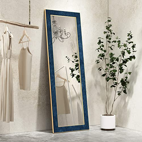 Full Length Mirror 65″x 22″ Dressing Mirror /Standing Hanging or Leaning Against Floor Mirror/ Large Rectangle Bedroom or Living Room Wall Mirror PS Flannel Frame Blue