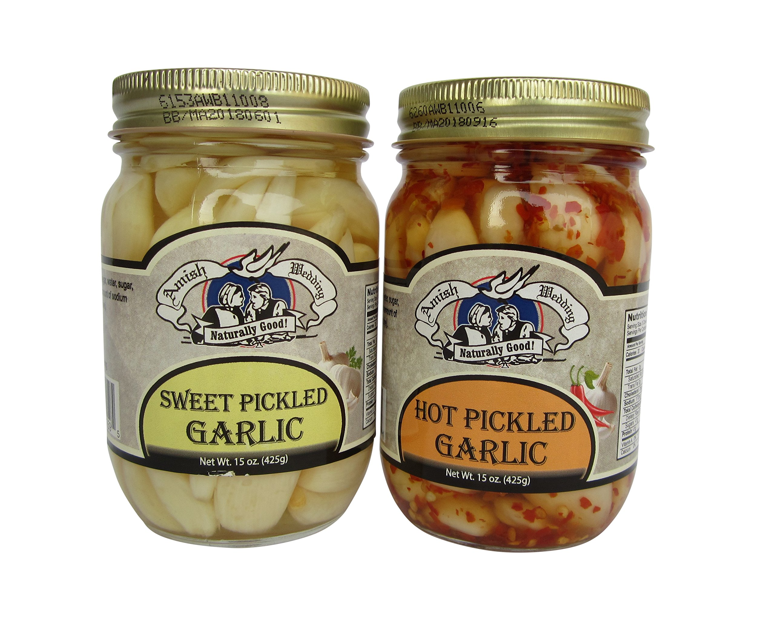 Amish Wedding Foods Hot / Sweet Pickled Garlic 2 -15 oz Jars One of Each Flavor by Amish Wedding Foods