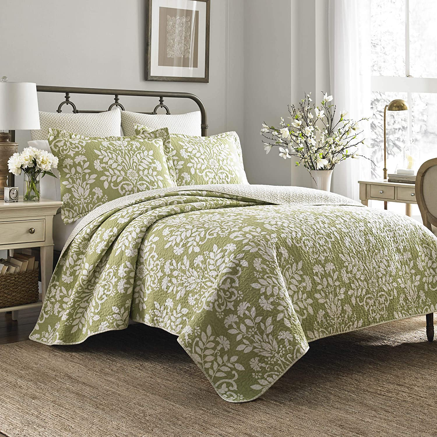 Laura Ashley Rowland Collection Quilt Set-100% Cotton, Reversible, All Season Bedding with Matching Sham(s), Pre-Washed for Added Comfort, King, Sage