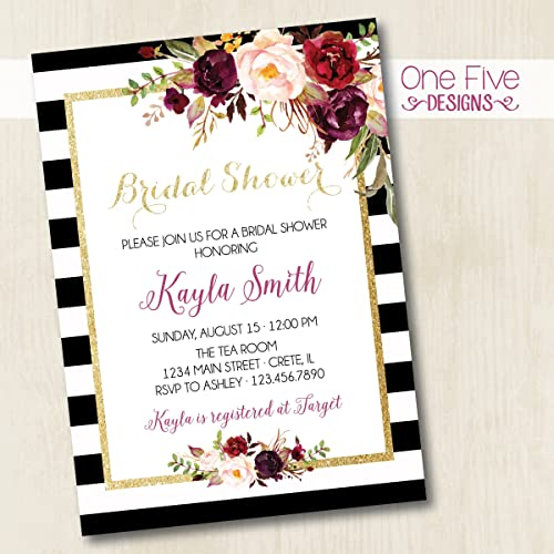 Amazon black gold burgundy plum pink blush bridal shower black gold burgundy plum pink blush bridal shower invitation with flowers and glitter printable filmwisefo