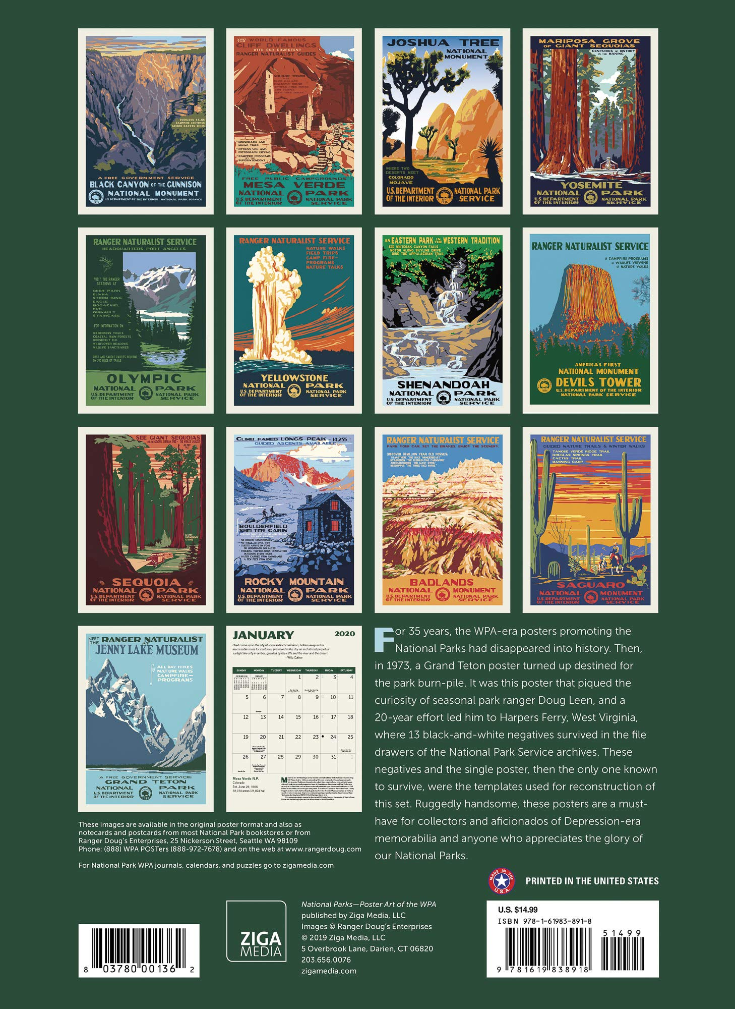 National Parks Posters Wpa Calendar Wall Calendar 2020 Monthly January December 8 75 X 12 Home Decor Calendars Planners Personal Organizers Wall Calendars