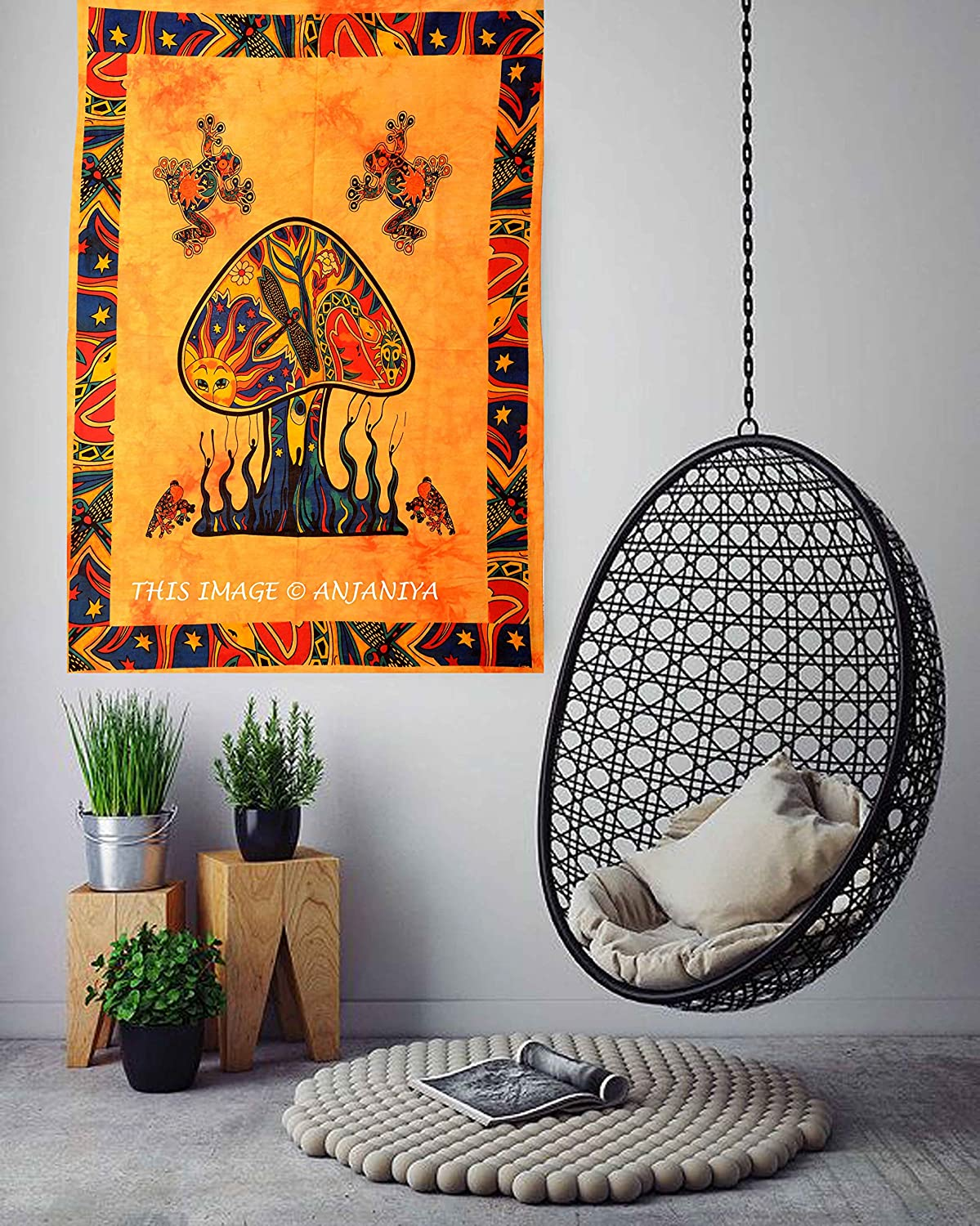 """ANJANIYA Psychedelic Mushroom Tapestry Frogs Magic Shrooms Tapestry Beautiful Bohemian Room Dorm Decor Hippie Tapestry Poster Size 40""""x30"""" Fantasy Wall Hanging Trippy Animal Wall Art (Yellow)"""