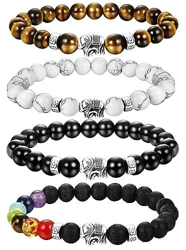 30a36a4a02 LOLIAS 4 Pcs Lava Stone Bead Bracelet for Men Women Elephant Chakras  Bracelet Set Adjustable