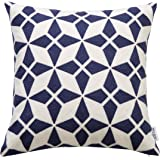 Slow Cow 18x18 inches Cotton Modern Family Embroidery Cushion Pillow Covers, Geometric Zipper Navy Blue Pillow Case Decorative Throw Pillows for Living Room, Best Home Décor Gift for Kids !
