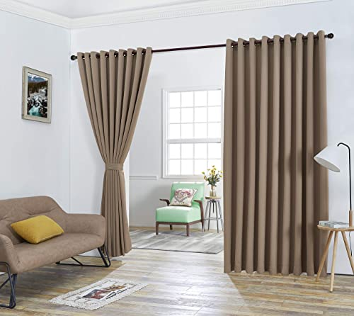 Red Co. 108×120 Taupe Wall to Wall Thermal Blackout Drapes with Grommets and Tiebacks – 2 Panel Set – 216 Inches Wide Total Size 108 inch Each – 120 Inches Long