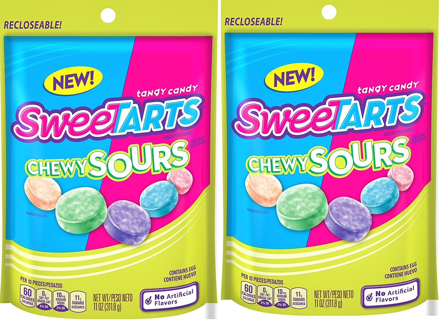SweeTARTS Chewy Sours Resealable Bag (2 Pack), 11 Ounces each