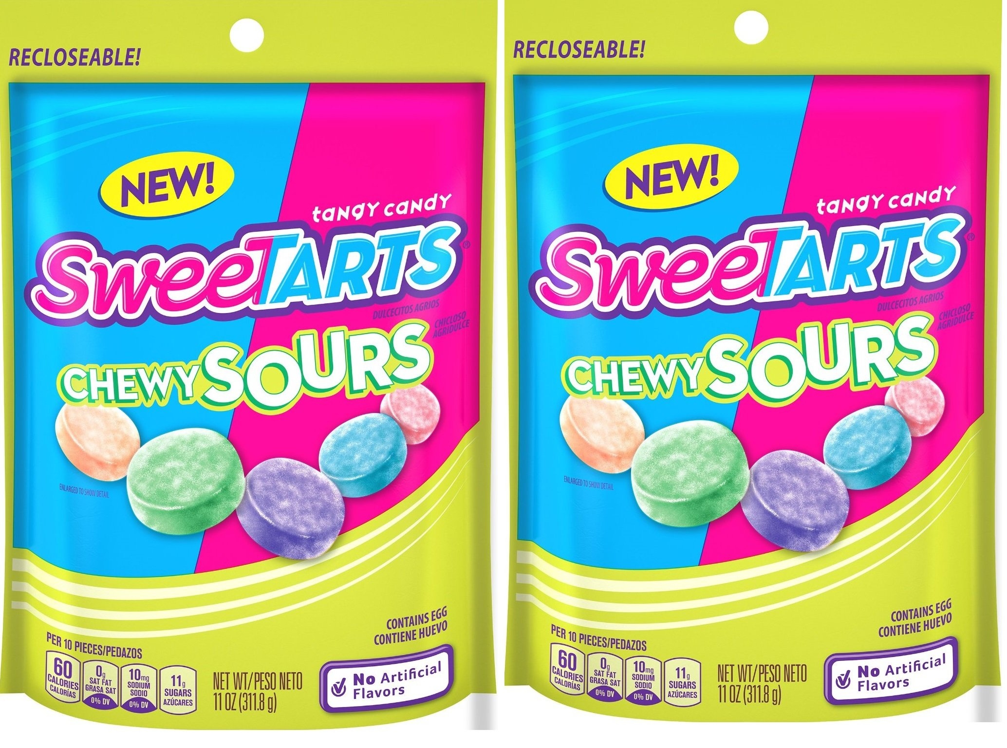 SweeTARTS Chewy Sours Resealable Bag (2 Pack), 11 Ounces each by SweeTARTS