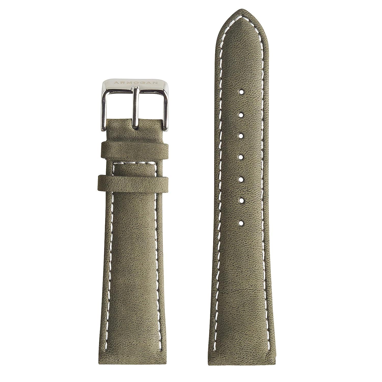 Armogan Genuineスエードレザー時計ストラップ – sc20s – カーキグリーン – メンズ腕時計バンド – 22 mm幅  B01N41DZO4