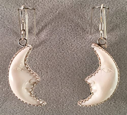 Amazon Com Carved Bone Half Moon Face Earrings In Sterling Silver Handmade