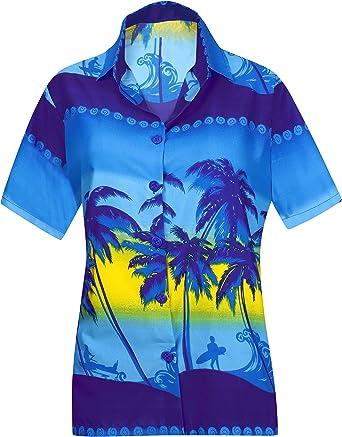 LA LEELA Likre acqua Suave Palmera Playa Ocasional botón de Abajo Camisa Azul Hawaiano