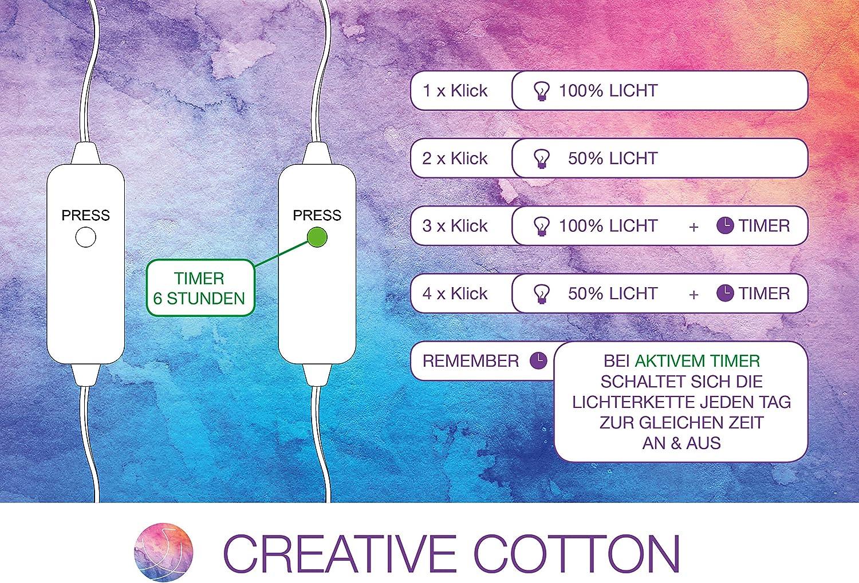 CREATIVECOTTON Guirlande Lumineuse Boules de Coton avec Mode Timer et Mode Veilleuse Aqua, 20 boules