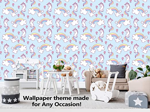 Amazon Com Cute Unicorn With Clouds And Rainbow Theme Wallpaper Mural For Interior Design Peel And Stick Wallpaper Decor You Walls For Any Occasion R530 24 X 84 Home Kitchen