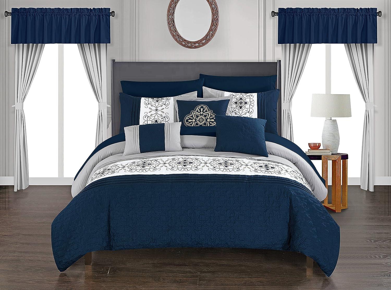 Chic Home Emily Comforter Set, Queen, Navy