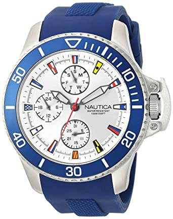 Nautica Mens Bayside Quartz Stainless Steel and Silicone Casual Watch, Color:White