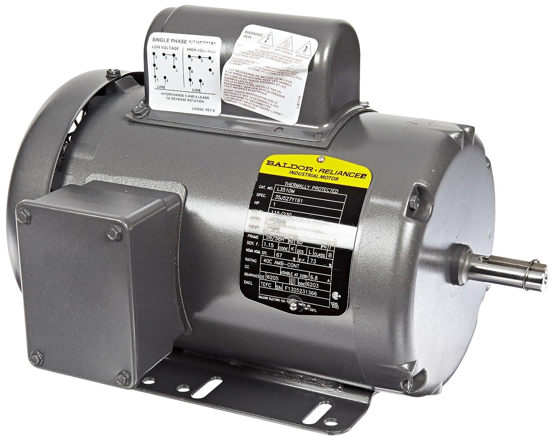 48 Frame 1725rpm 60Hz TEFC Enclosure Baldor L3409M General Purpose AC Motor Single Phase 115//230V Voltage 1//2Hp Output