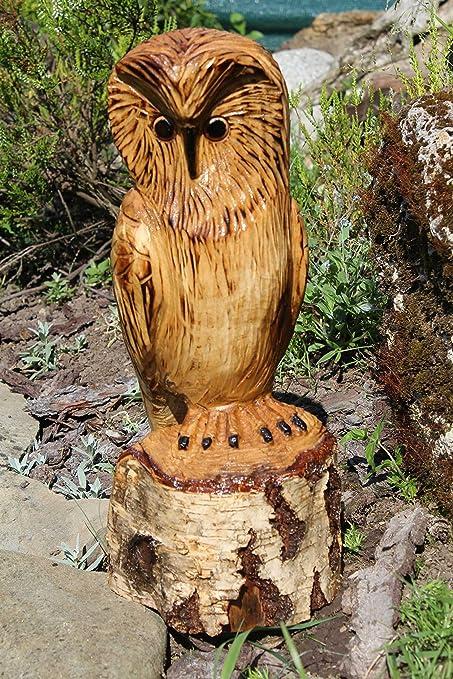 Decoración del jardín escultura del buho de madera tallada: Amazon.es: Hogar