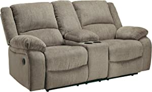 Signature Design by Ashley - Draycoll Contemporary Upholstered Double Reclining Loveseat - Console - Tan