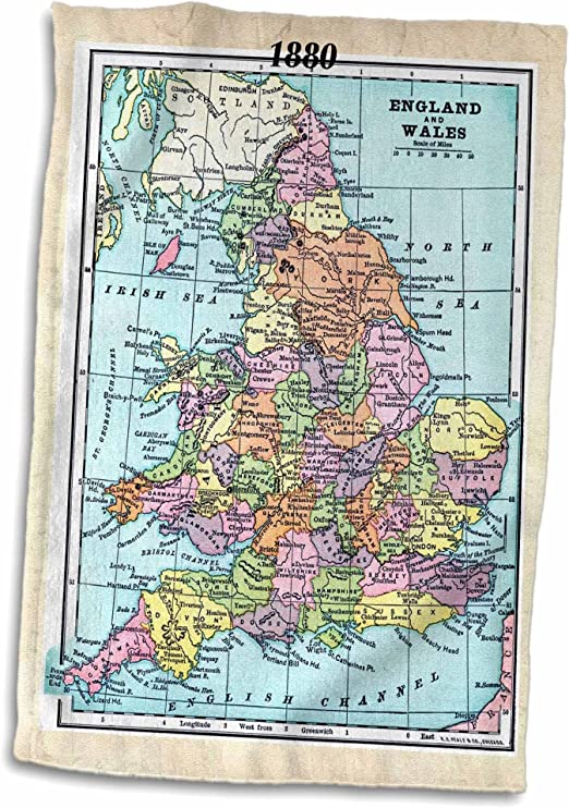 3D Rose 1880 Map of England and Wales TWL/_38898/_1 Towel 15 x 22