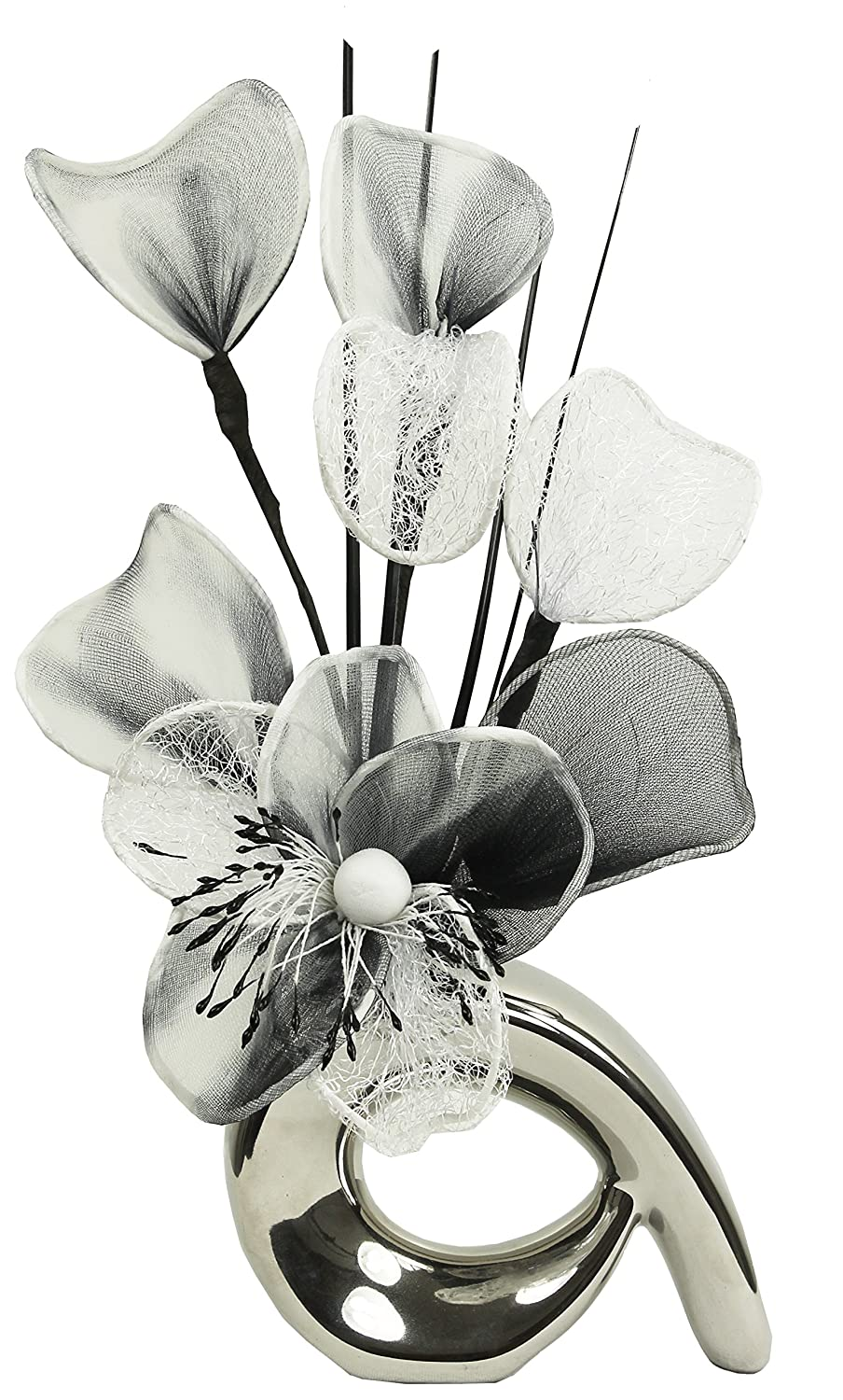 Flourish 792725 qh1 silver vase with black and white nylon flourish 792725 qh1 silver vase with black and white nylon artificial flowers in vase fake flowers ornaments small gift home accessories 32cm amazon reviewsmspy
