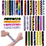 Fun Little Toys 72 PCs Slap Bracelets Toy Party Favor Pack With Colorful Hearts Emoji Animal Print Design Retro Slap Bands for Birthday Parties, Kids Prizes,Stocking Stuffers, Pinata Fillers