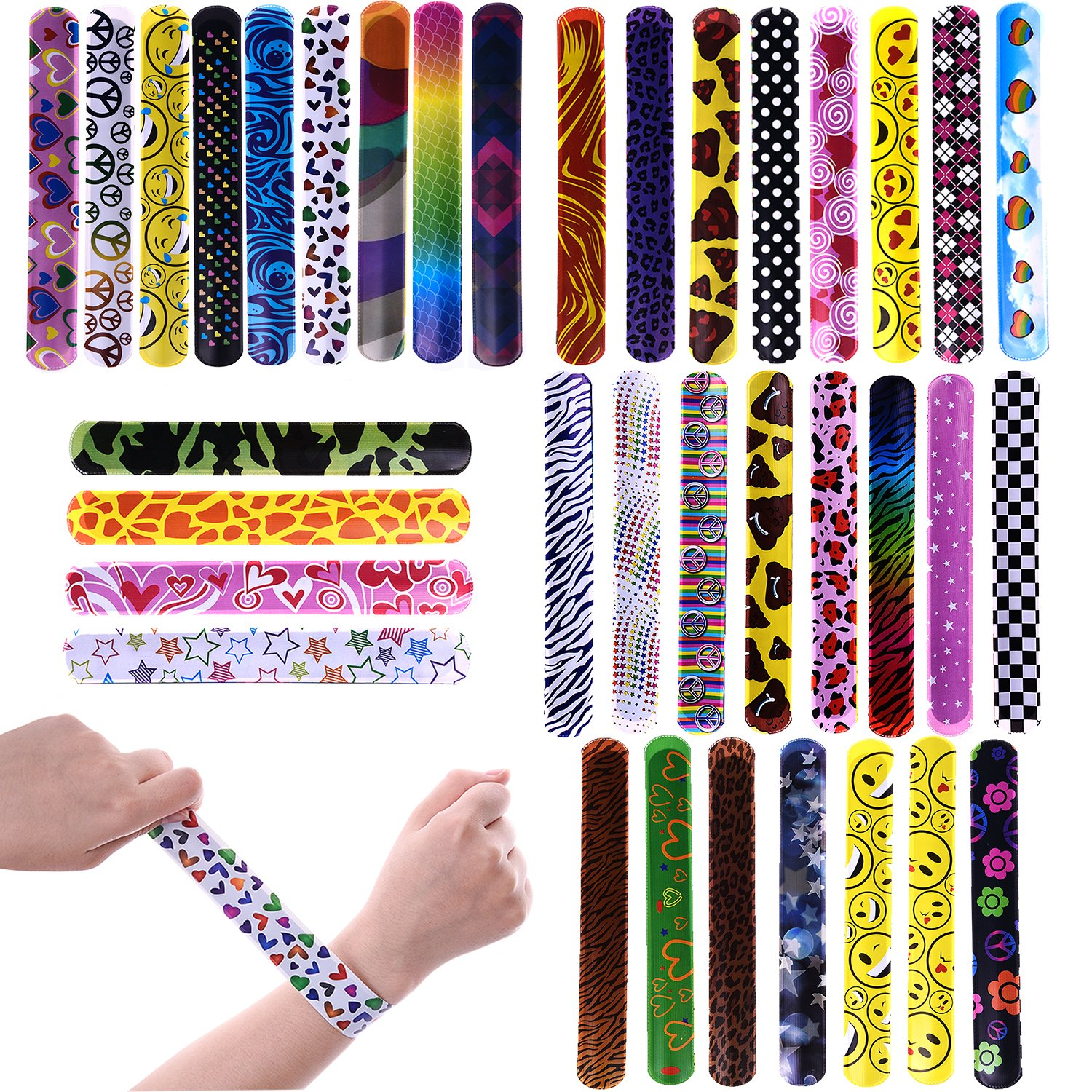 FUN LITTLE TOYS 72PCs Slap Bracelets for Party Favors Pack with Colorful Hearts Emoji Animal Print Design Retro Slap Bands for Kids Prizes, Kids Party Favors, Pinata Fillers by FUN LITTLE TOYS
