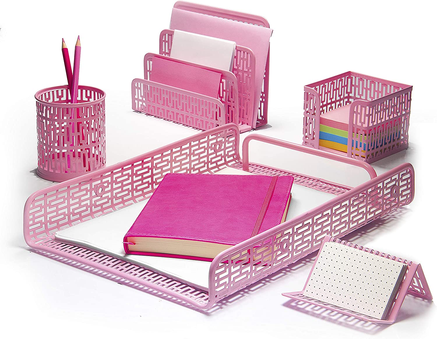 Hudstill Pink Cute Desk Organizer Set for Women and Girls in Art Deco Design with 5 Office Supplies Accessories : File Tray, Mail Sorter, Pen Cup, Holders for Sticky Notes, Business Cards or Phones