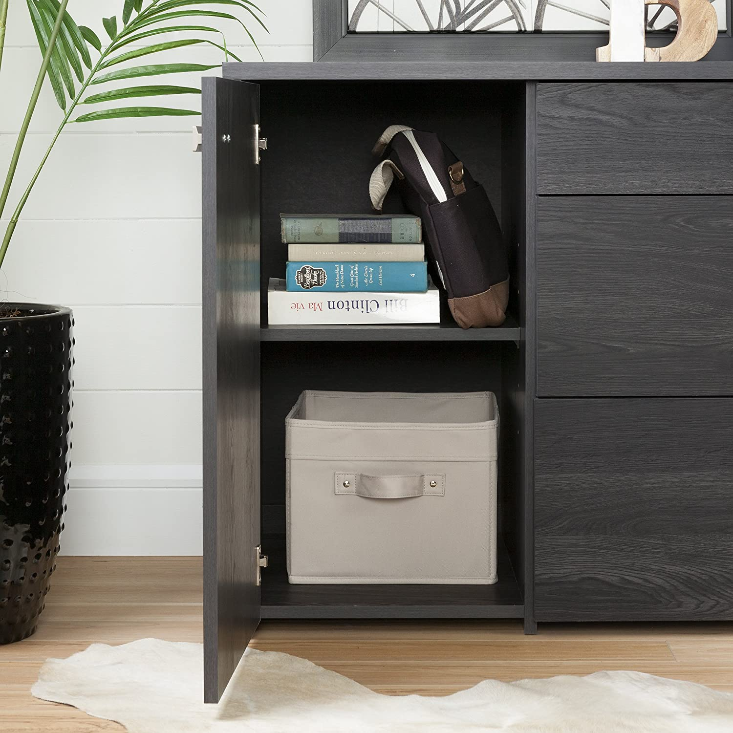 South Shore 10538 1-Door Office Storage Unit with File Drawer Pure White