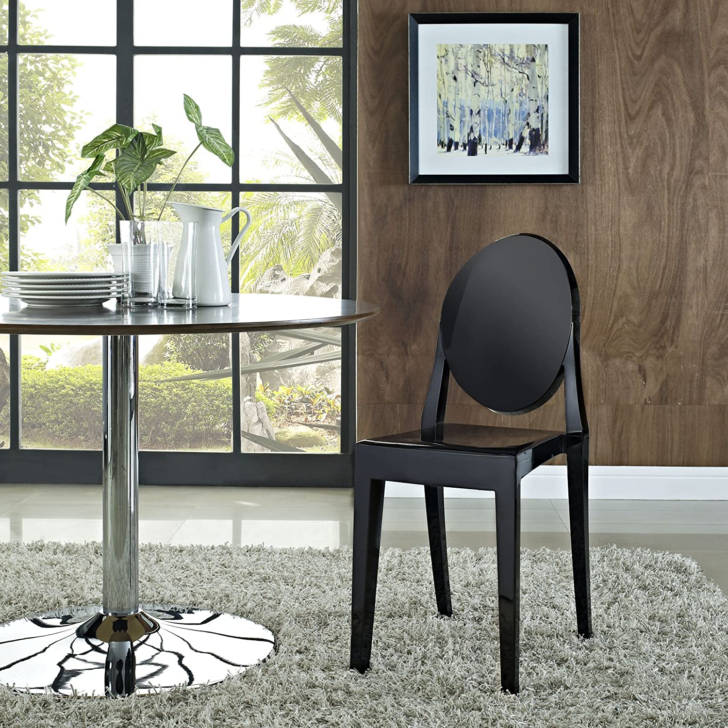 Modway Casper Modern Acrylic Stacking Kitchen and Dining Room Chair in Black - Fully Assembled