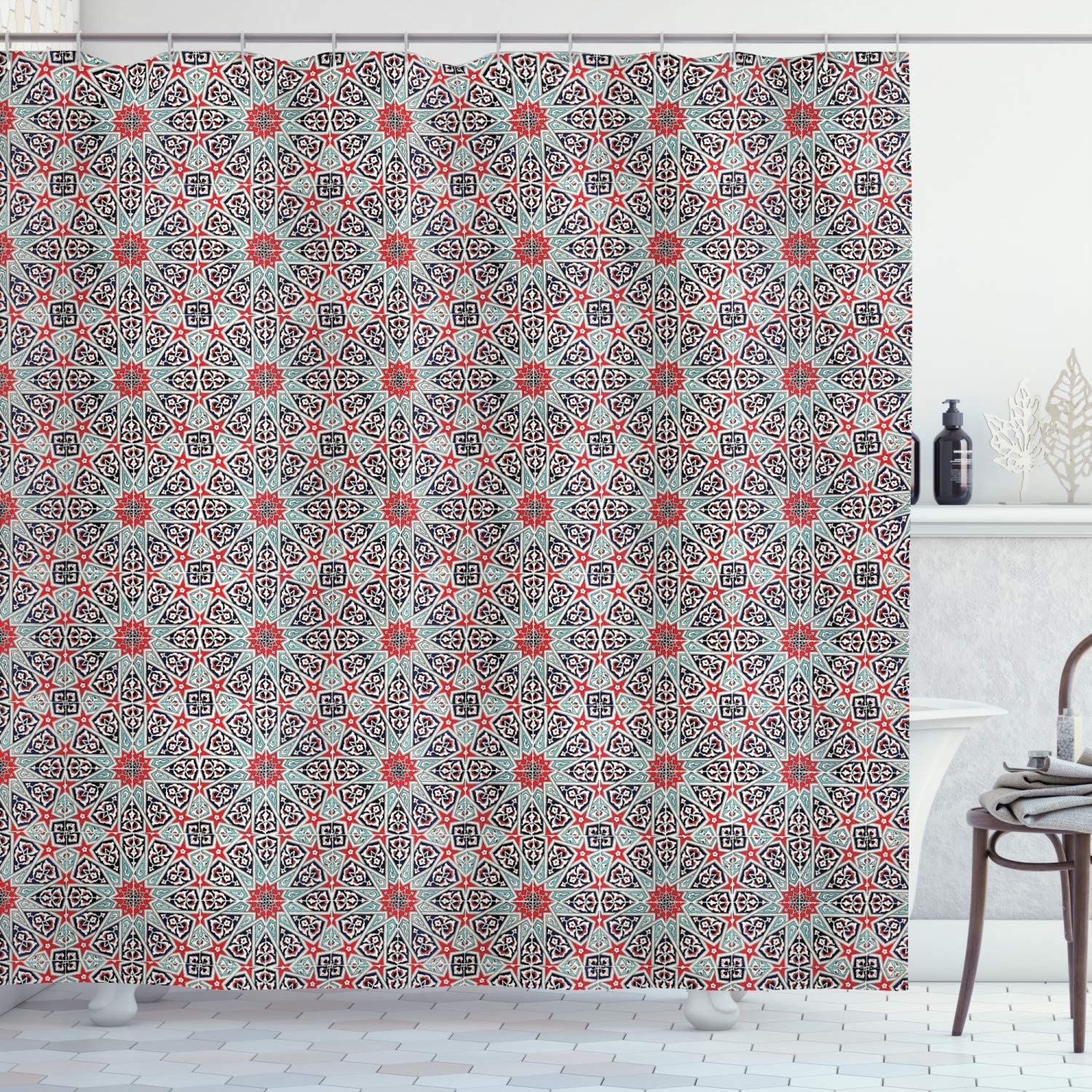 Ambesonne Moroccan Shower Curtain, Ceramic Tile East Pattern Heritage Oriental Tradition Culture Ornate Print, Cloth Fabric Bathroom Decor Set with Hooks, 70