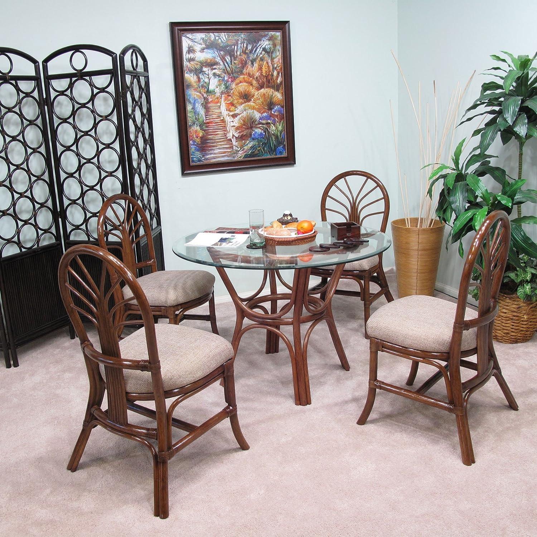 Premium Rattan Dining Furniture Sundance 5PC Set Geneva Flax Fabric (Walnut Finish)