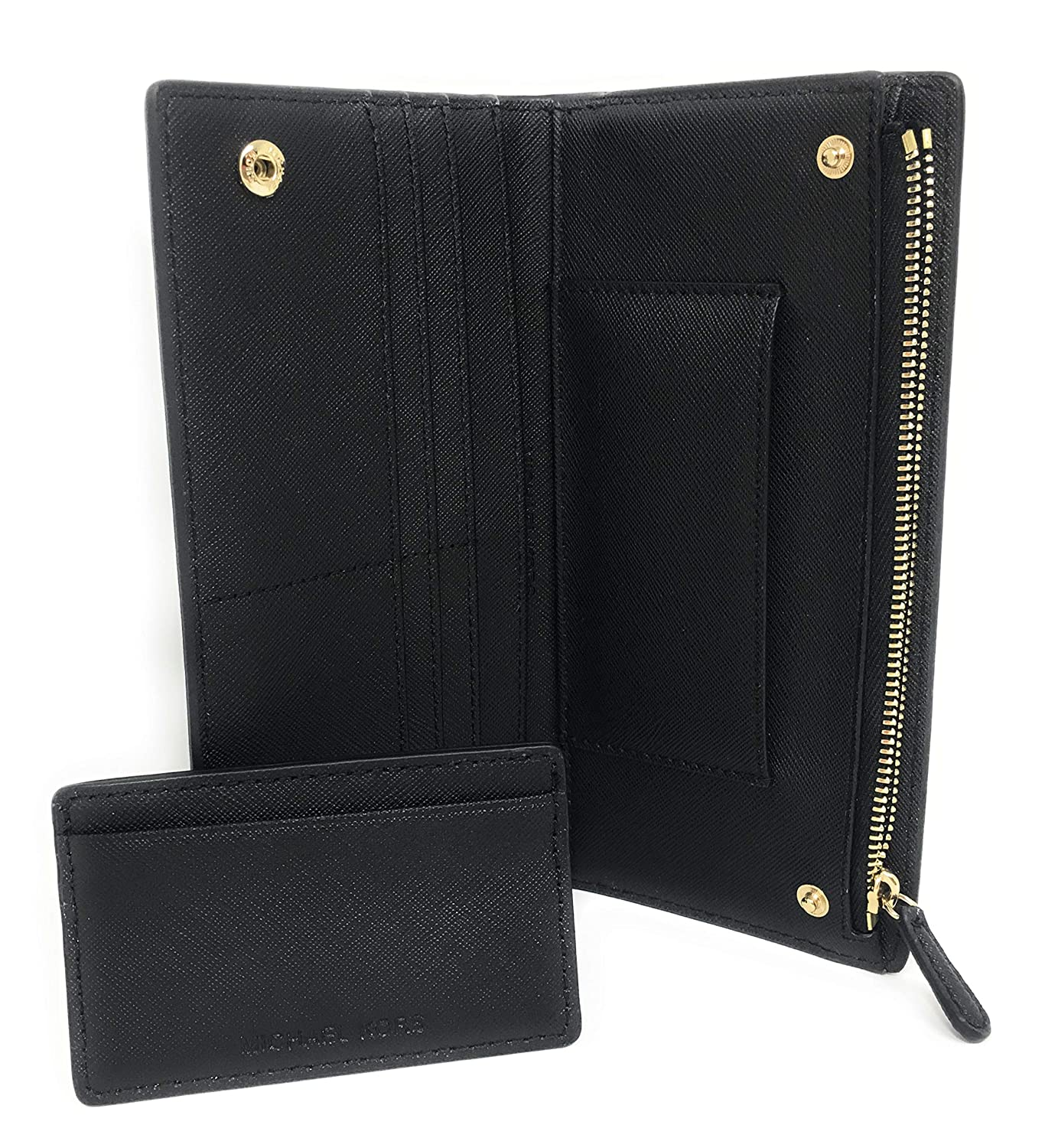 7dfcedc6ee8a Amazon.com: Michael Kors Jet Set Travel Leather Medium Large Card Case  Carryall Wallet with Removable ID Card Holder (Black with Gold Hardware)
