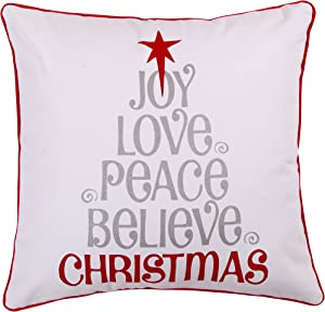 Levtex Home - Silent Night - Decorative Pillow (12X24in.) - Joy, Love, Peace - Silver, Red, White