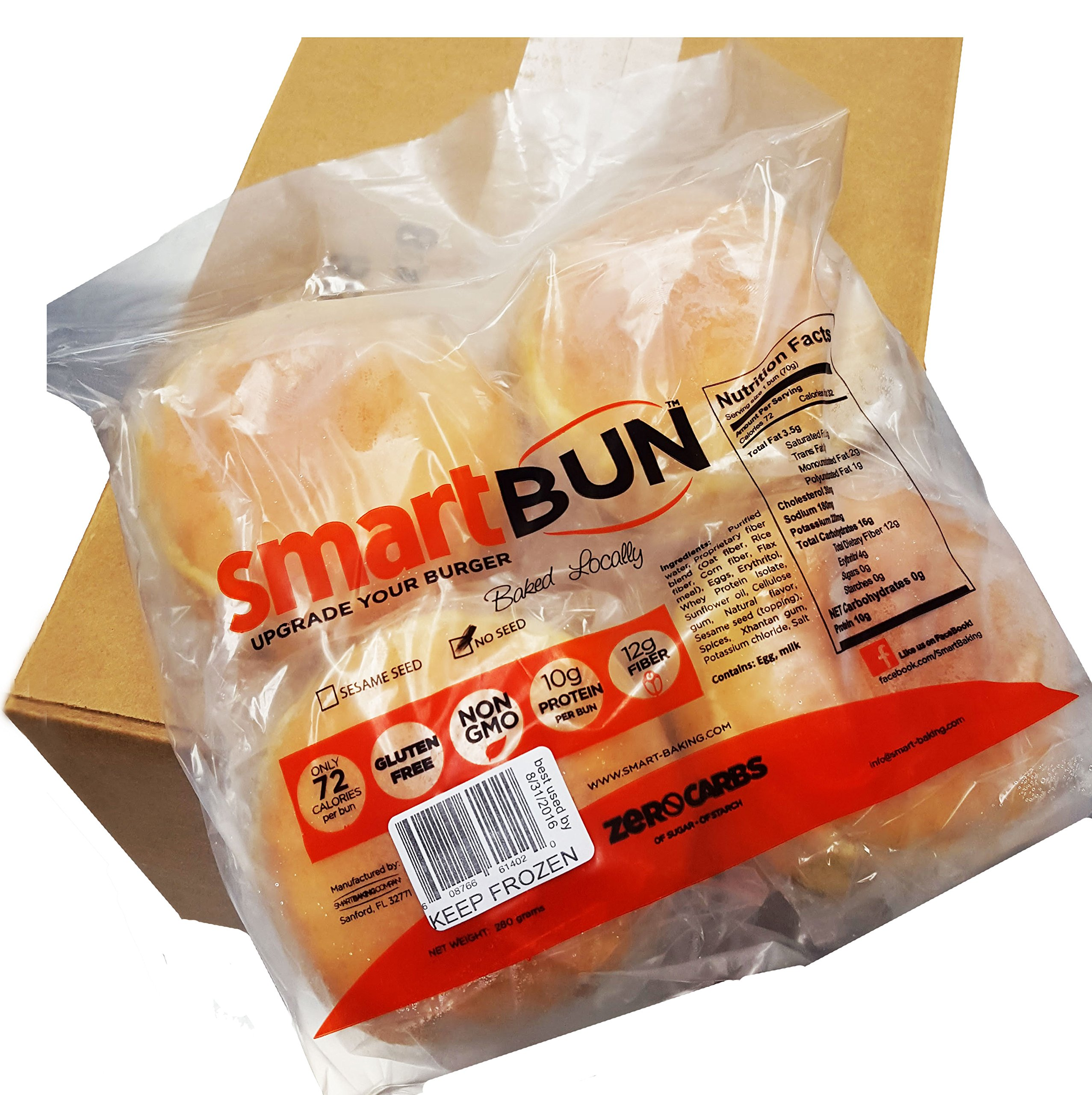 Gluten Free, ZERO CARB of sugar of starch, sesame, Hamburger Buns- 24 pack by SmartBUN