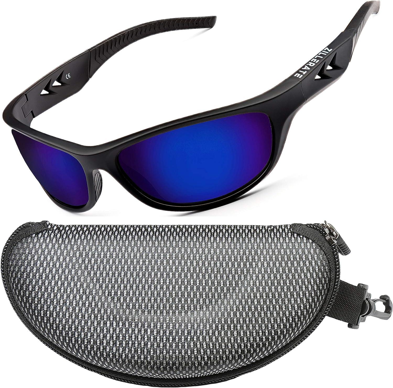 ZILLERATE Gafas de Sol Polarizadas Deportivas para Hombre y Mujer – Protección UV400 con Montura Irrompible y Ligera – Ideal para Ciclismo Esquí Golf Pesca Conducir Playa – Funda Rígida y Cordón