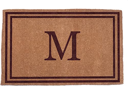Coco Mats N More Hand Woven Brown Double Bordered Monogrammed Coco Doormat 22 x 36