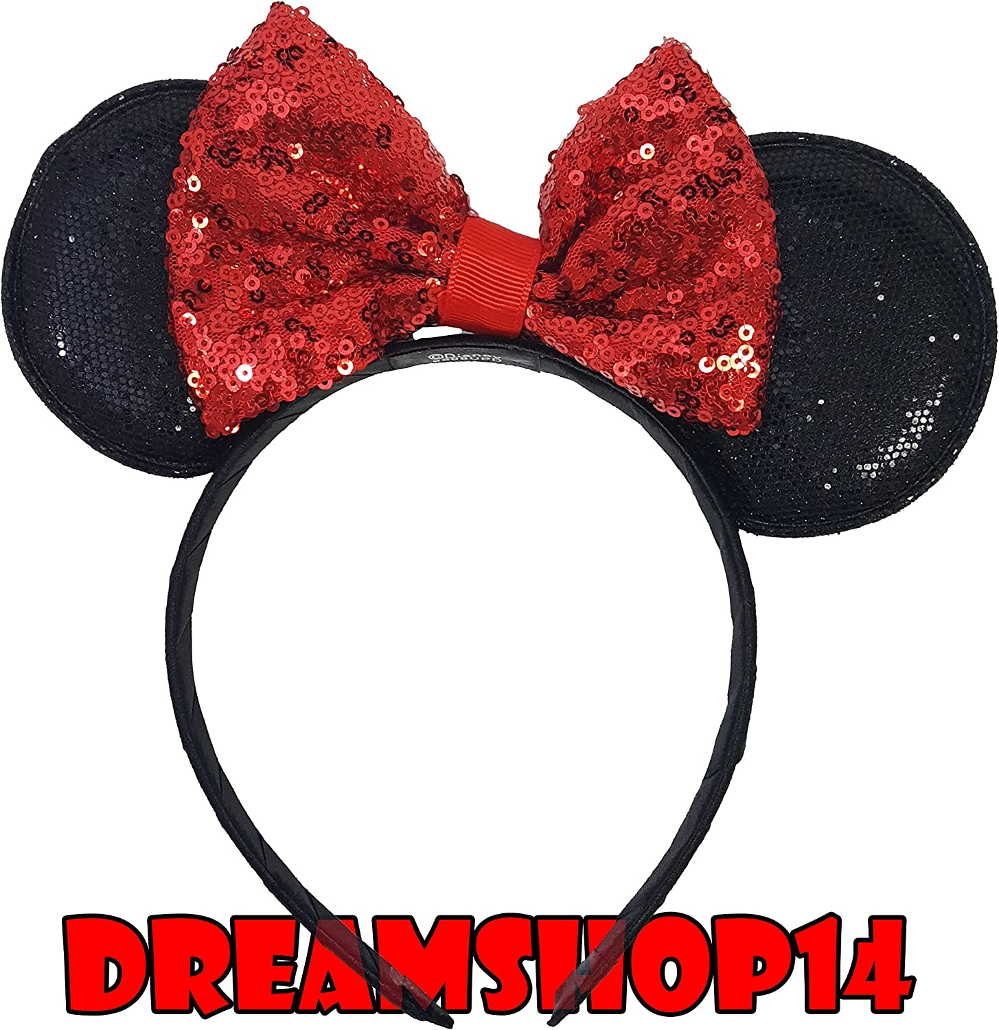 Minnie Mickey Mouse Ears 12 pcs Headbands Black Red Sequin Bow USA seller