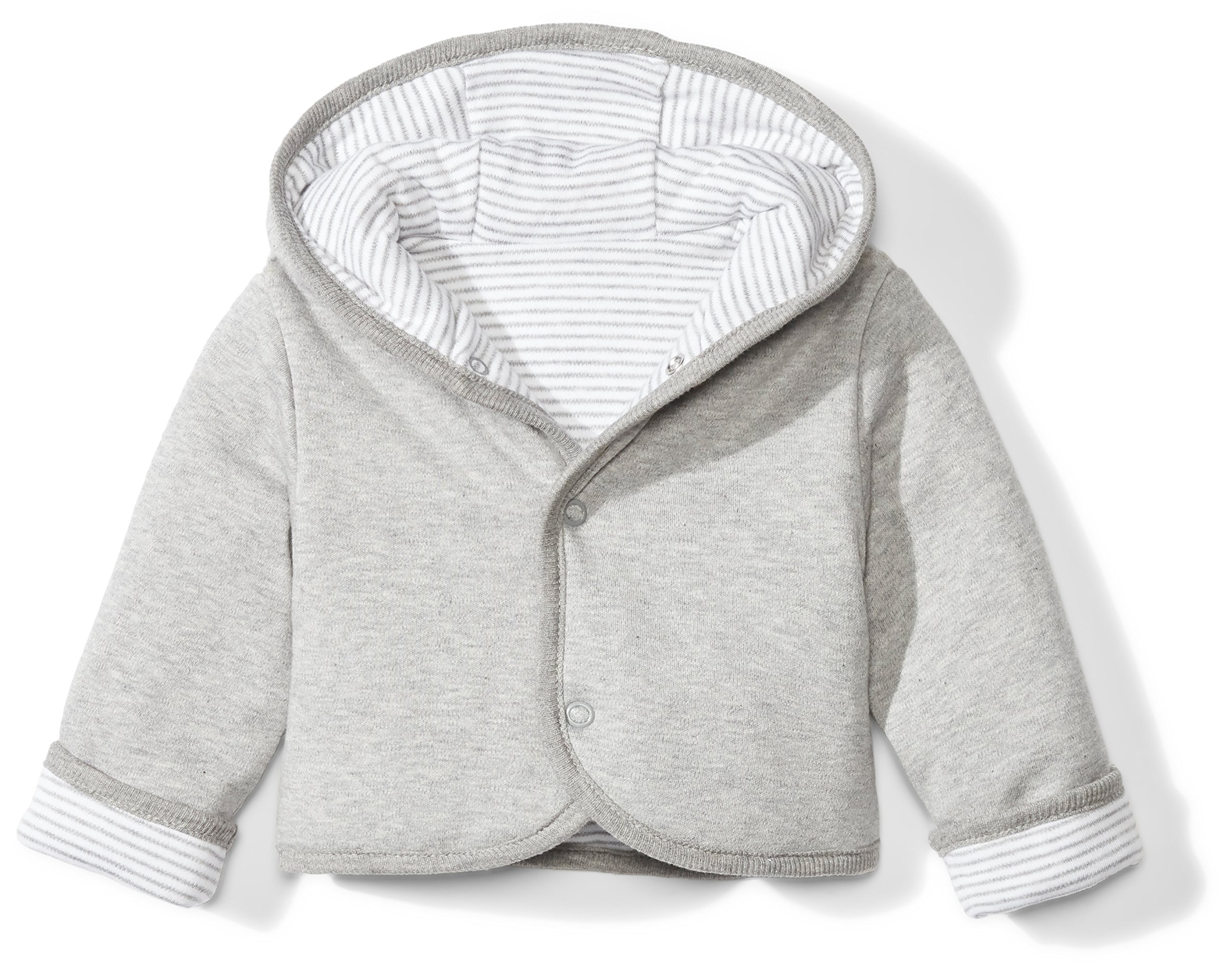 Moon and Back Baby Reversible Jacket with Hood, Grey Heather, 0-3 Months by Moon and Back