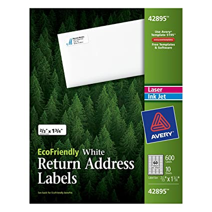 Amazon Avery Return Address Labels White 066 X 175 Inches