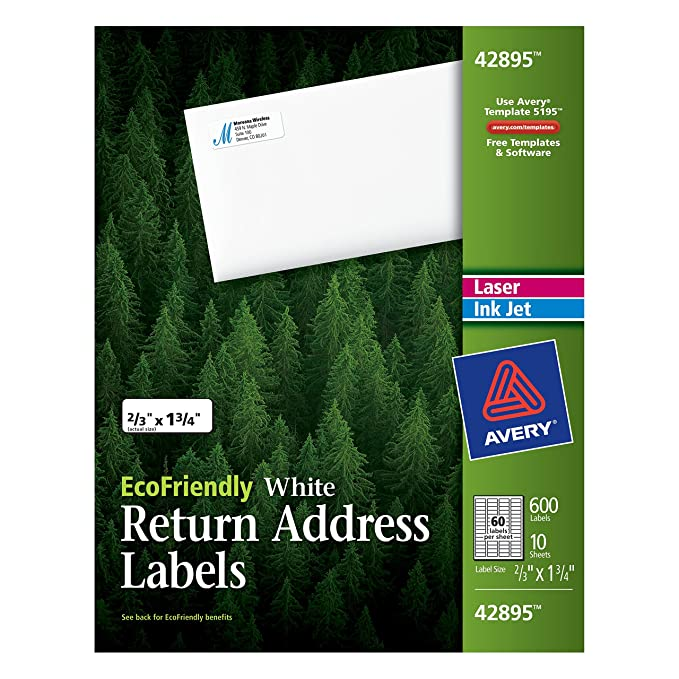 amazoncom avery return address labels white 066 x 175 inches pack of 600 42895 all purpose labels office products