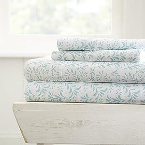 ienjoy Home 4 Piece Sheet Set Patterned, Queen, Burst of Vines Light Blue