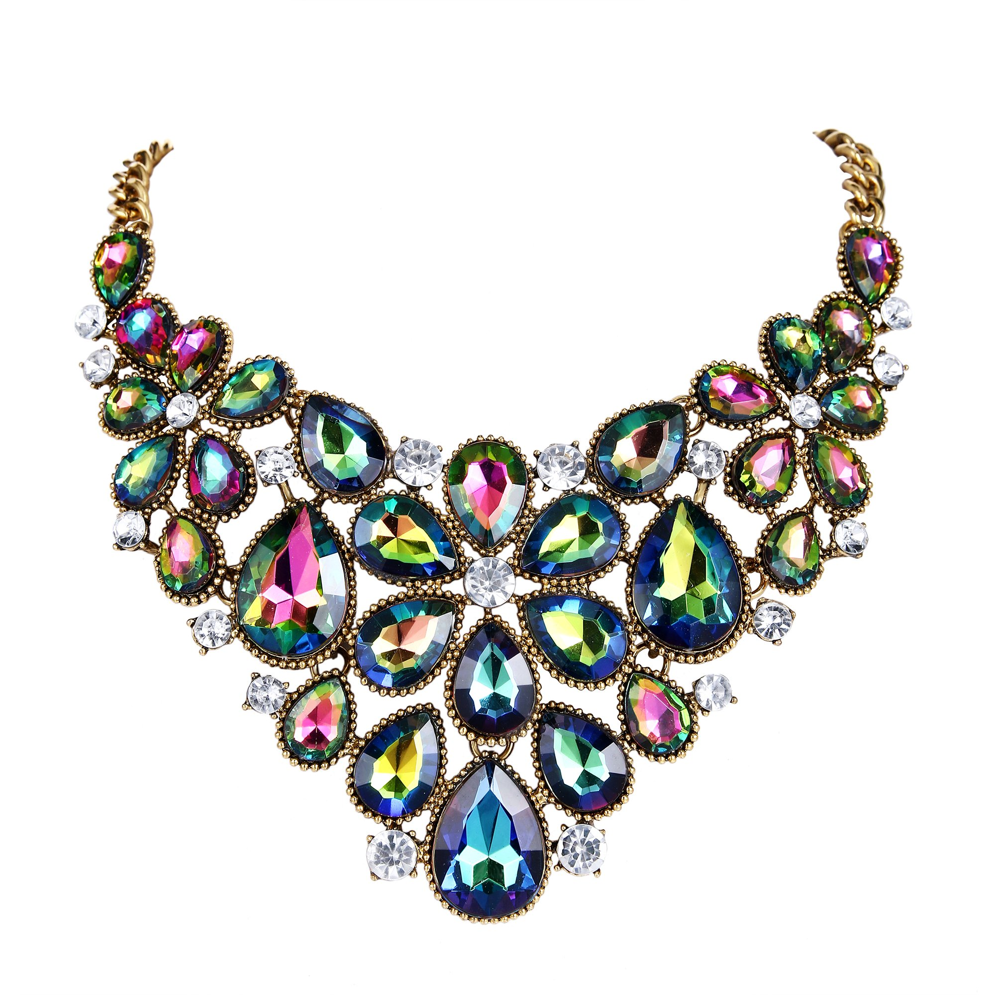 BriLove Women's Tribal Ethnic Crystal Multi Teardrop Flower Statement Necklace Vitrail Medium Gold-Tone